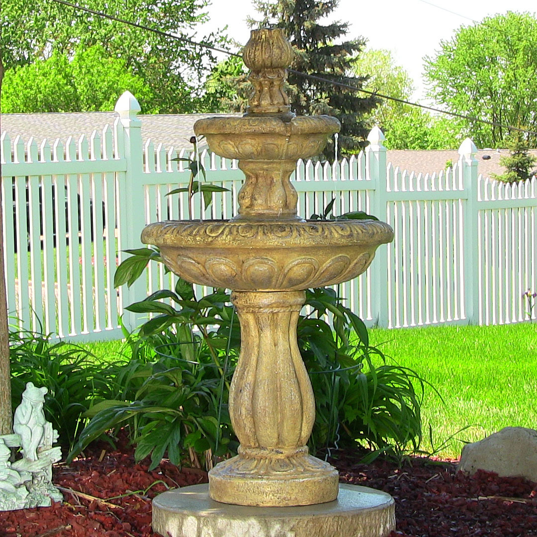 Sunnydaze Two Tier Tulip On Demand Fountain Earth Photo