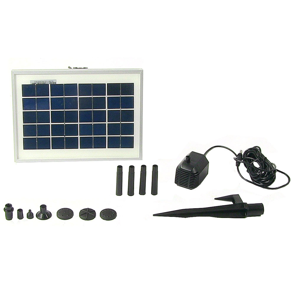 Sunnydaze Outdoor Solar Pump and Panel Fountain Kit With 6 Spray Heads, 79 GPH, 47 Inch Lift