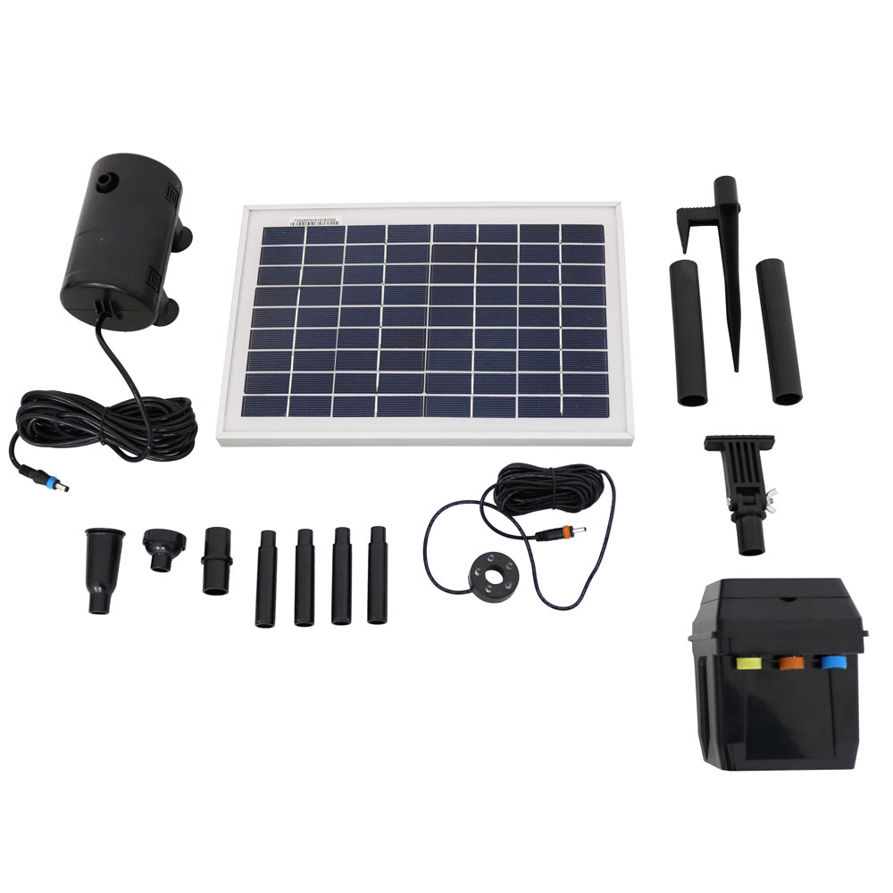 Sunnydaze 8W Outdoor Solar Pump and Panel Fountain Kit With Battery Pack, LED Light 200 GPH, 80-Inch Head