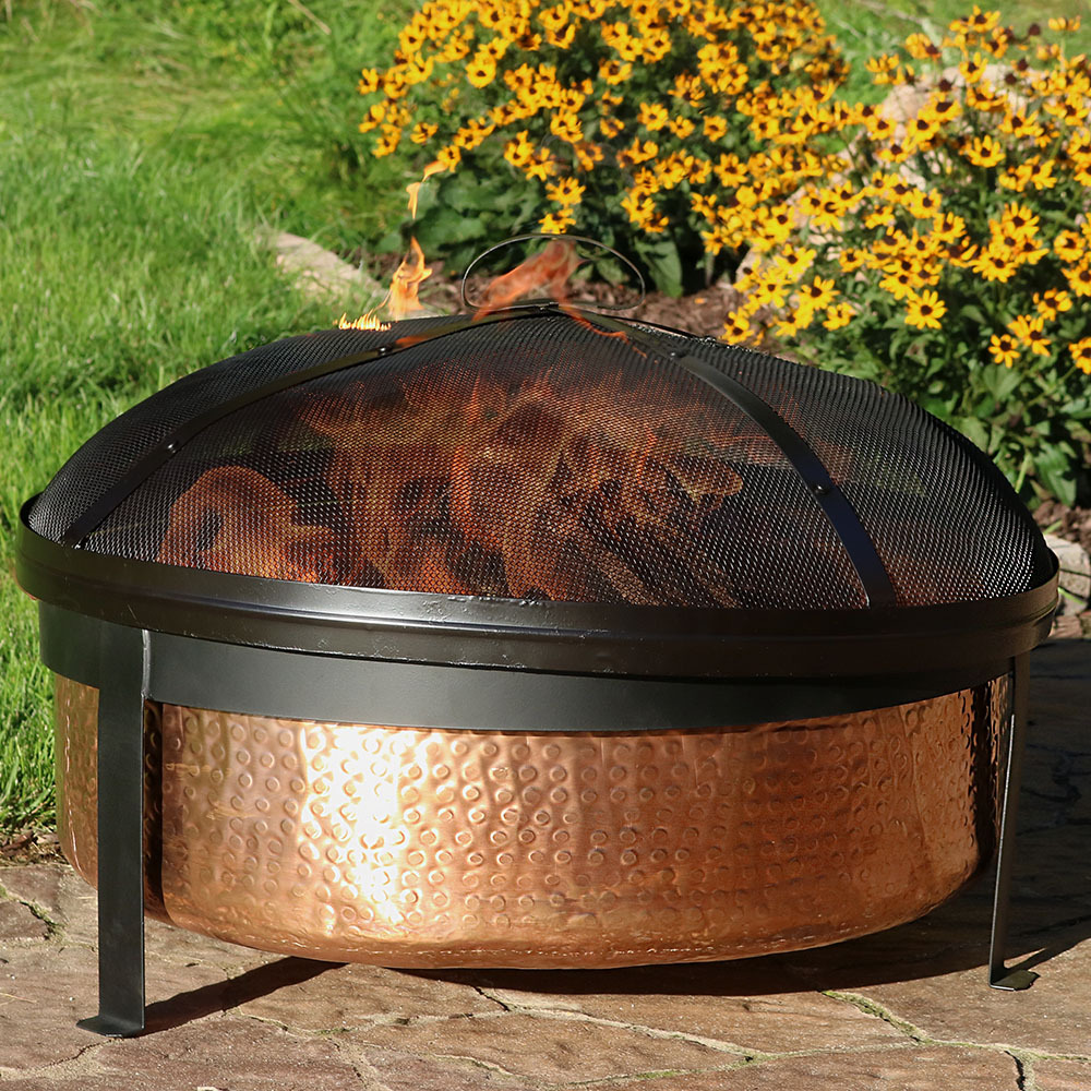 Sunnydaze Hammered Copper Wood Burning Fire Pit Picture 319