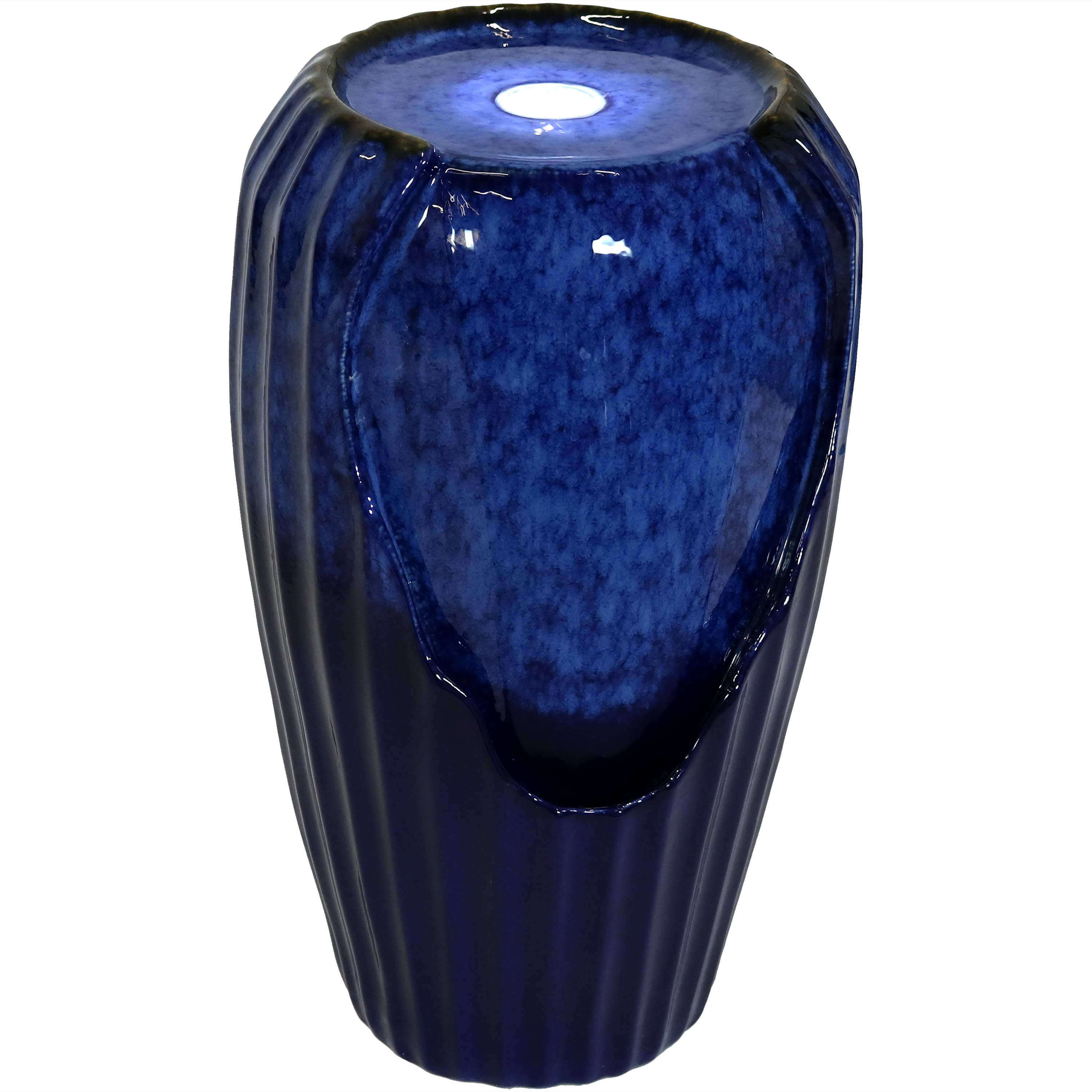 Blue Ceramic Vase Water Fountain Led Lights Submersible Pump Photo