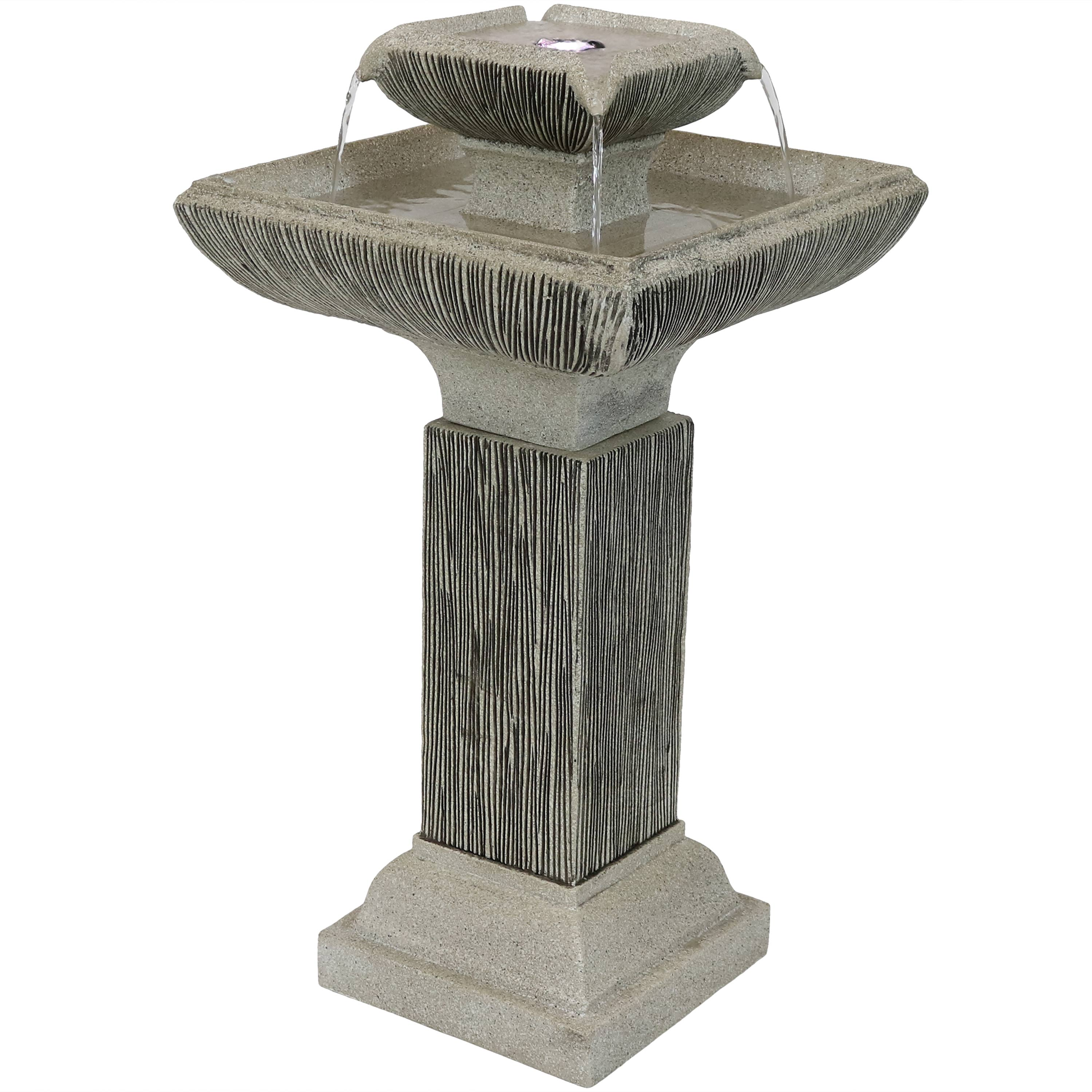 Square Bird Bath Water Fountain Led Lights Submersible Pump Photo