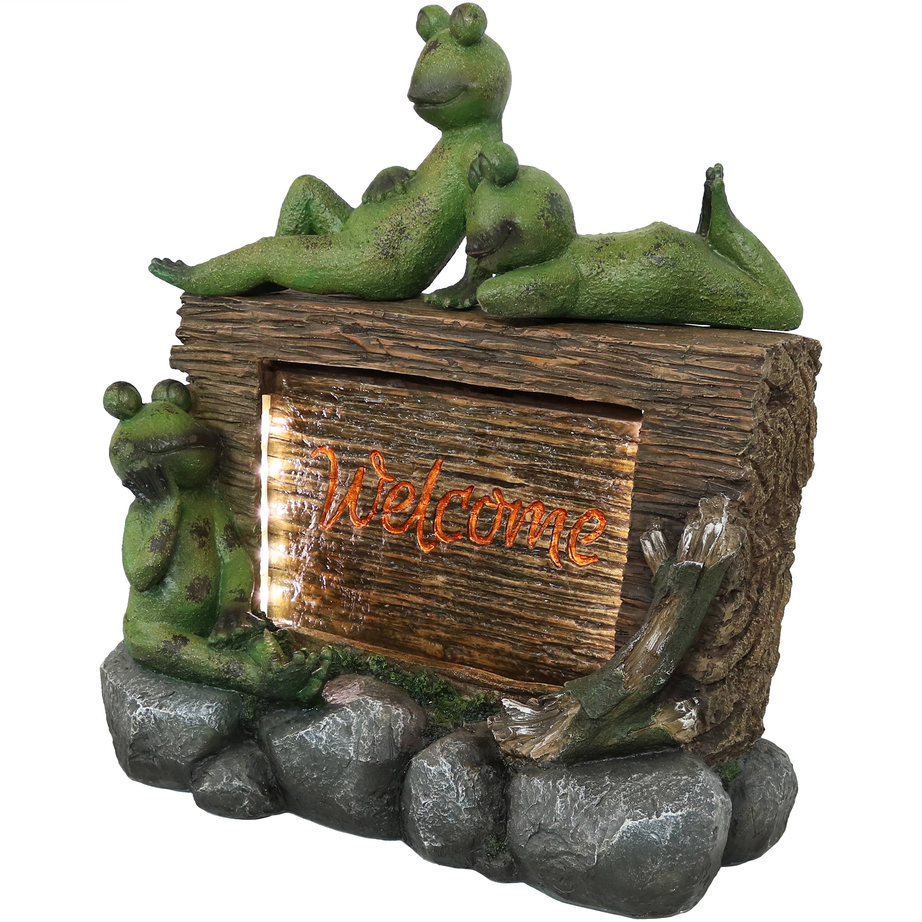 Frogs Welcome Sign Water Fountain Led Lights Photo