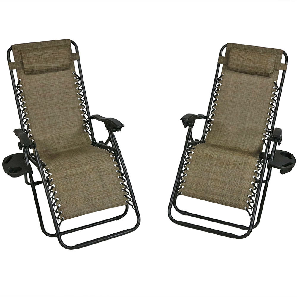 Lounge Chair Pillow Cup Holder Folding Patio Lawn Recliner Brown Photo