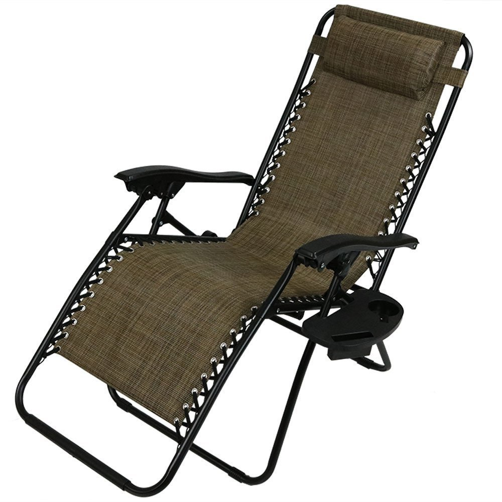 Sunnydaze Outdoor XL Zero Gravity Lounge Chair with Pillow and Cup Holder, Folding Patio Lawn Recliner, Brown