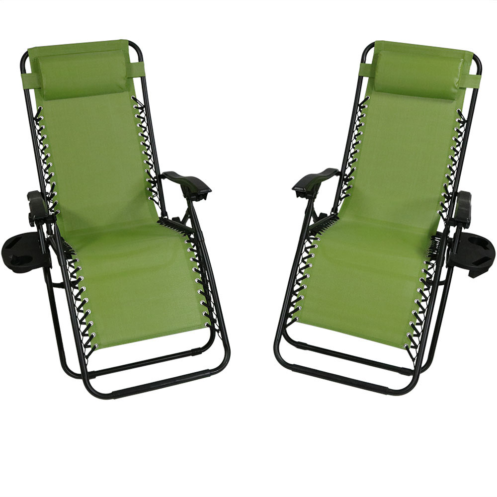 Sunnydaze Outdoor XL Zero Gravity Lounge Chair with Pillow and Cup Holder, Folding Patio Lawn Recliner, Green, Set of 2
