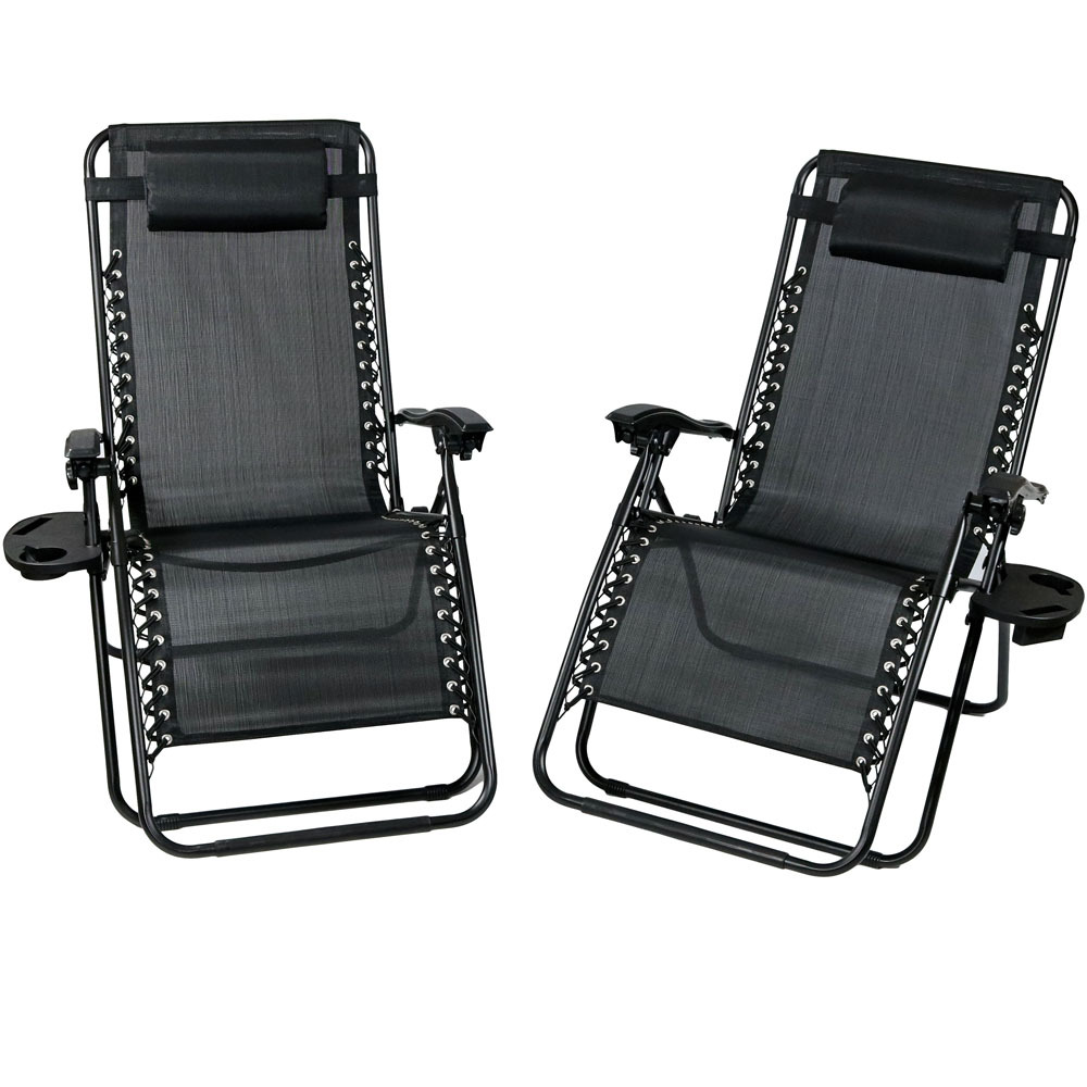 Lounge Chair Pillow Cup Holder Folding Patio Lawn Recliner Charcoal