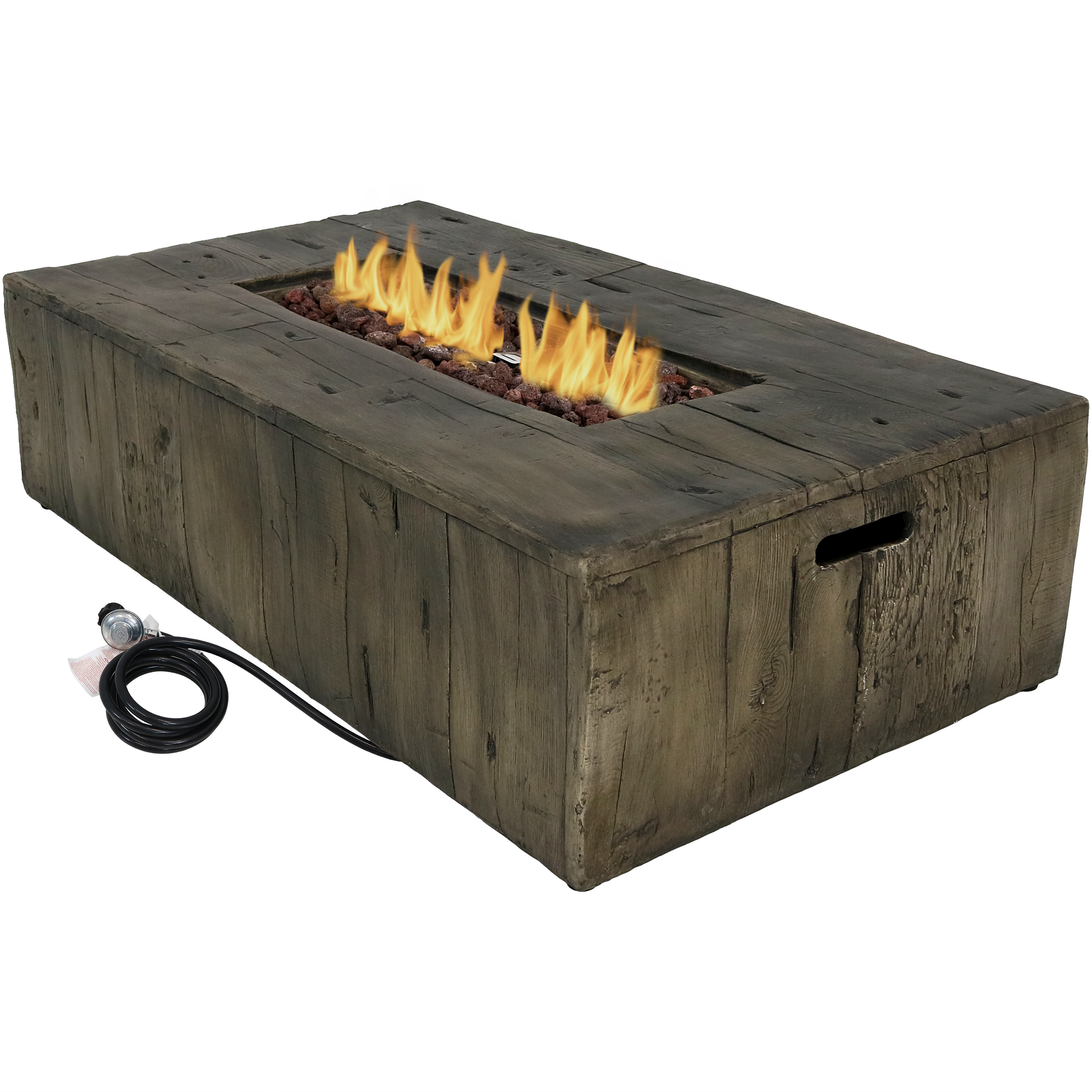 Propane Gas Fire Pit Table Weather Cover Lava Rocks Faux Wood Photo