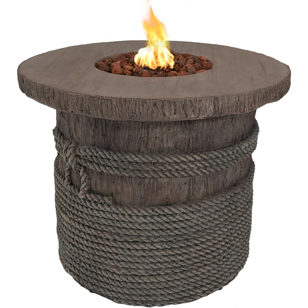 Rope Barrel Propane Gas Fire Pit Table Lava Rocks Photo