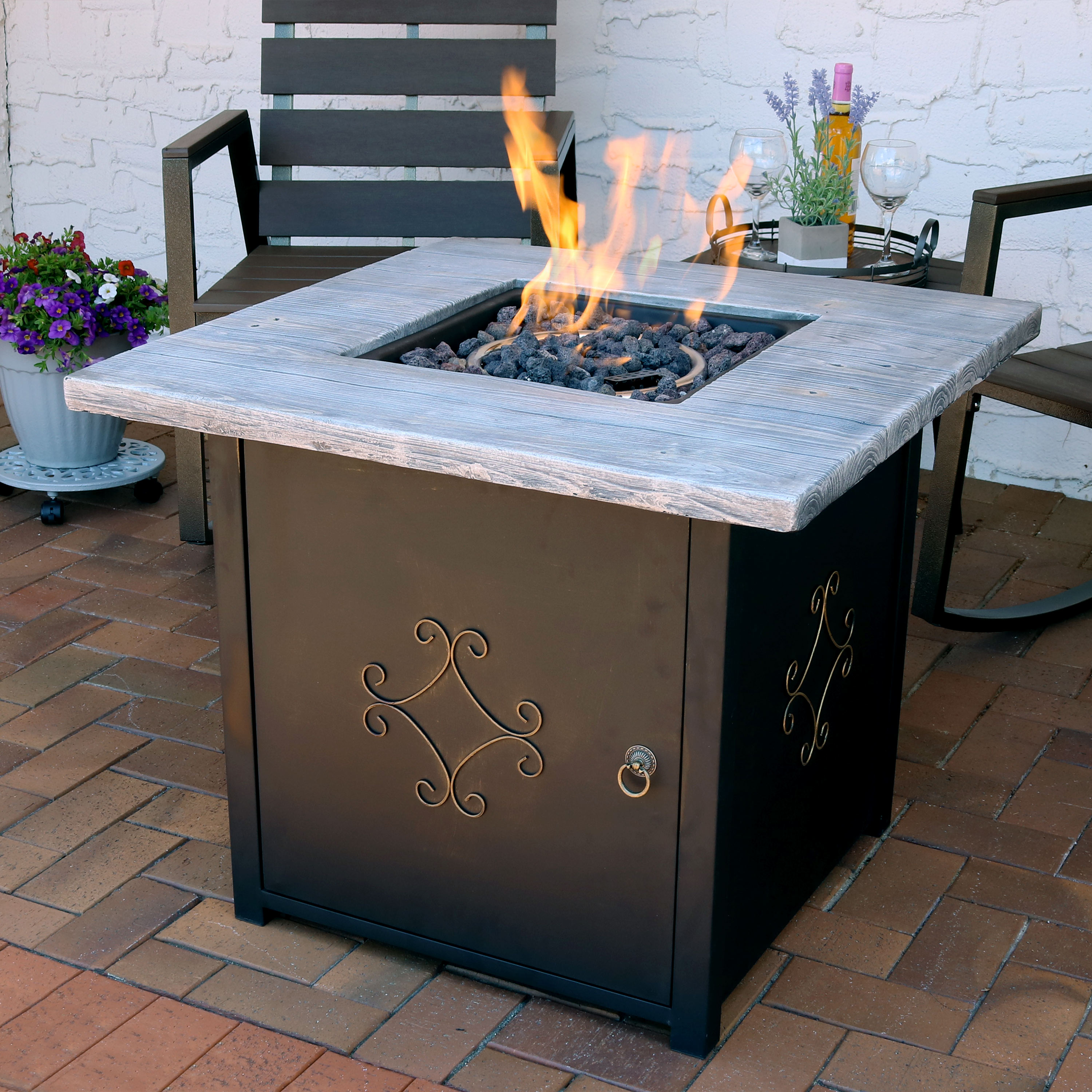 Sunnydaze Square Propane Gas Fire Pit Table with Lava Rocks - 30-Inch
