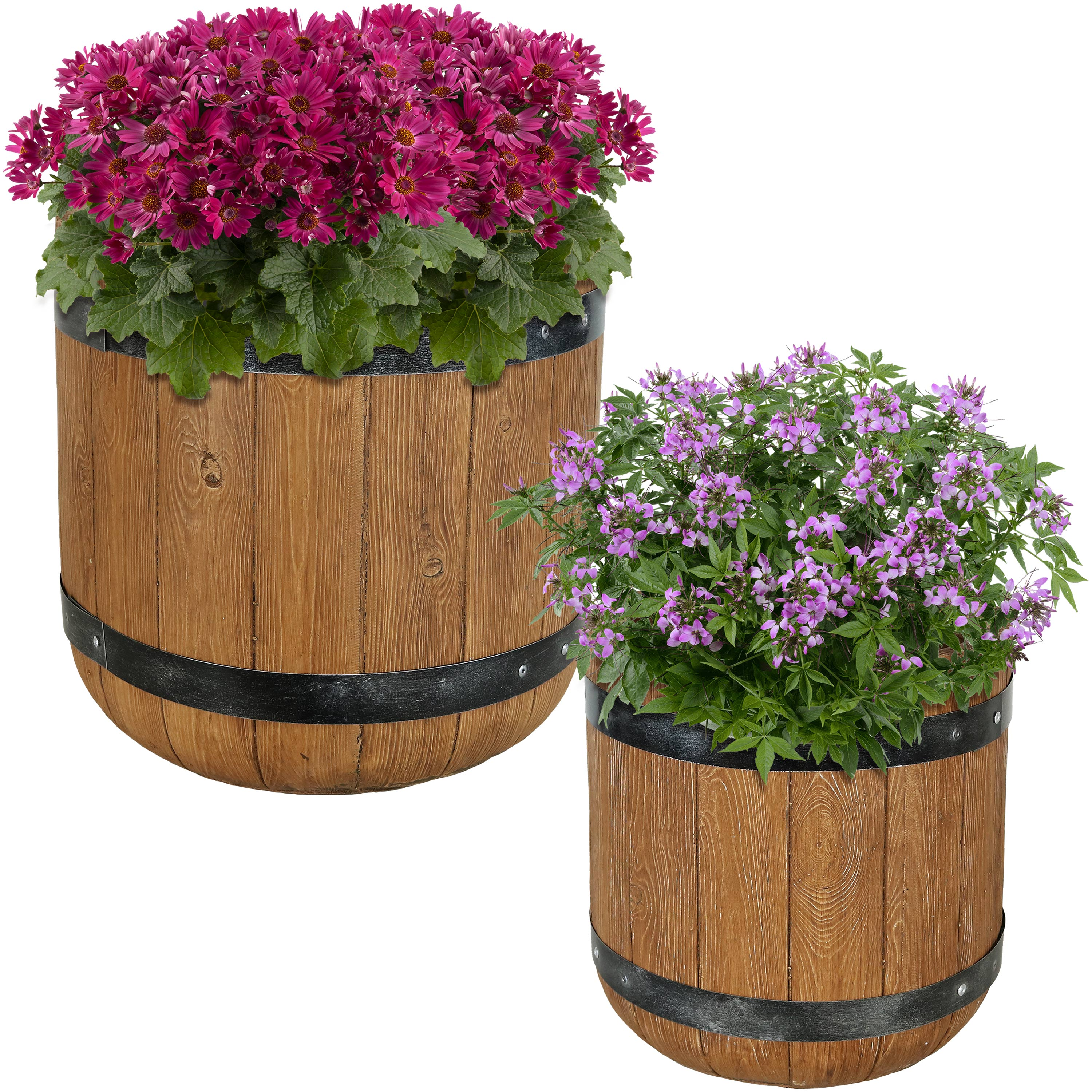 Vineyard Fiber Clay Barrel Planter Flower Pot Set Photo