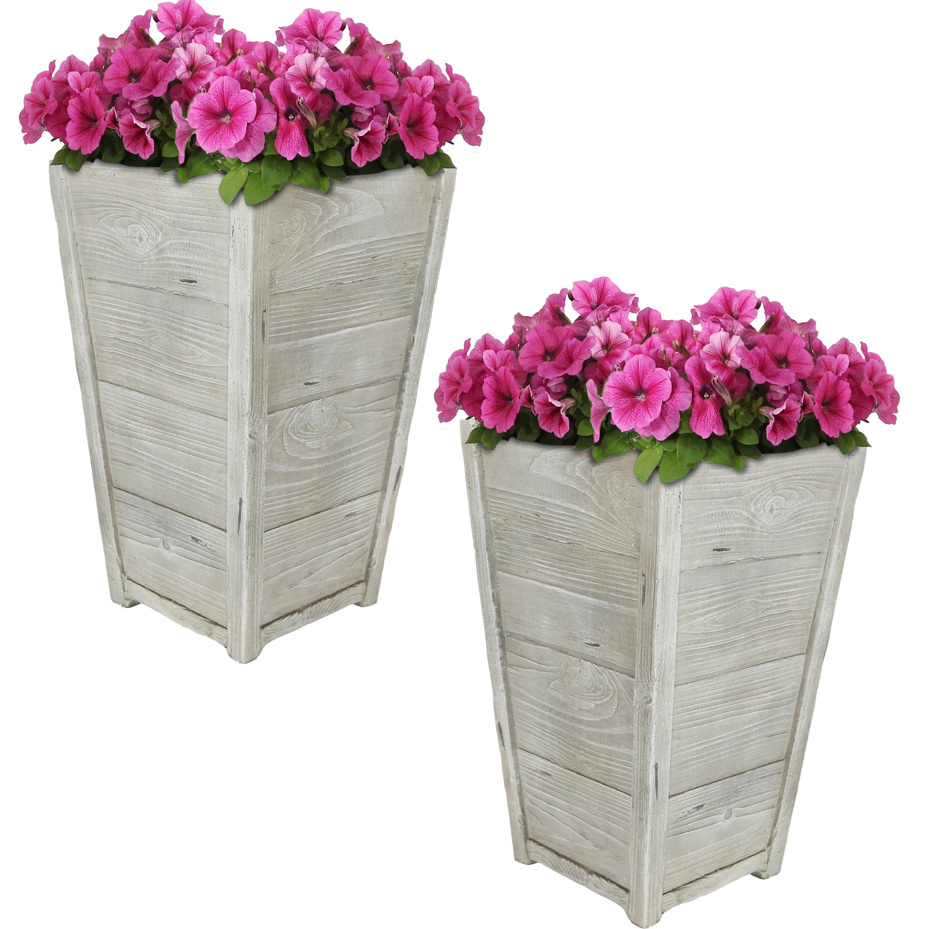 Manor Fiber Clay Square Planter Flower Pot Wood Photo