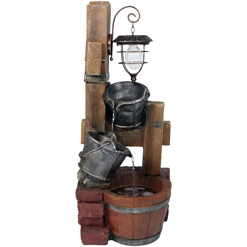 Pouring Buckets Water Fountain Solar Lantern Tall Photo