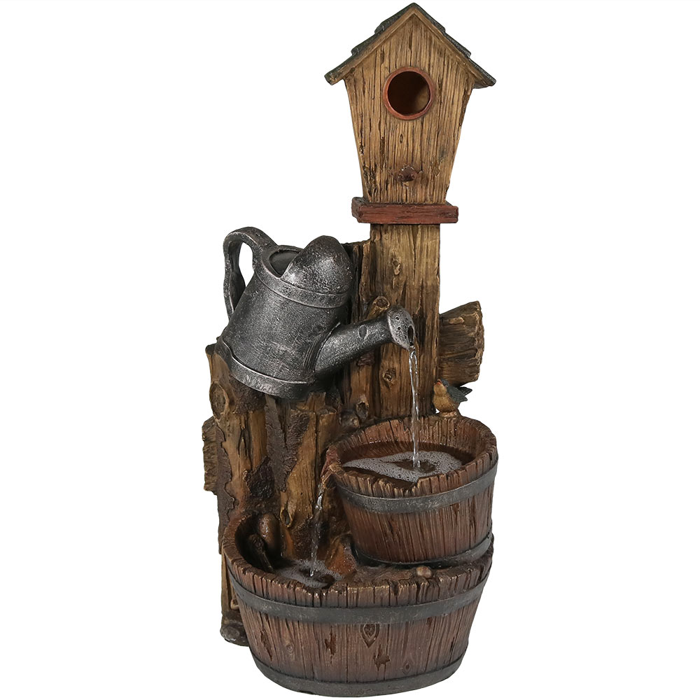 Birdhouse Water Fountain Patio Garden Cascading Waterfall Tall Photo