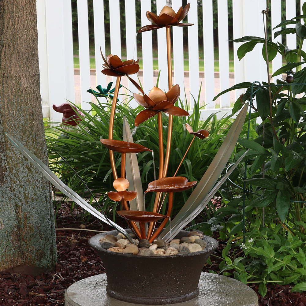 Sunnydaze Copper Flower Blossoms Outdoor Garden Water Fountain Image 879