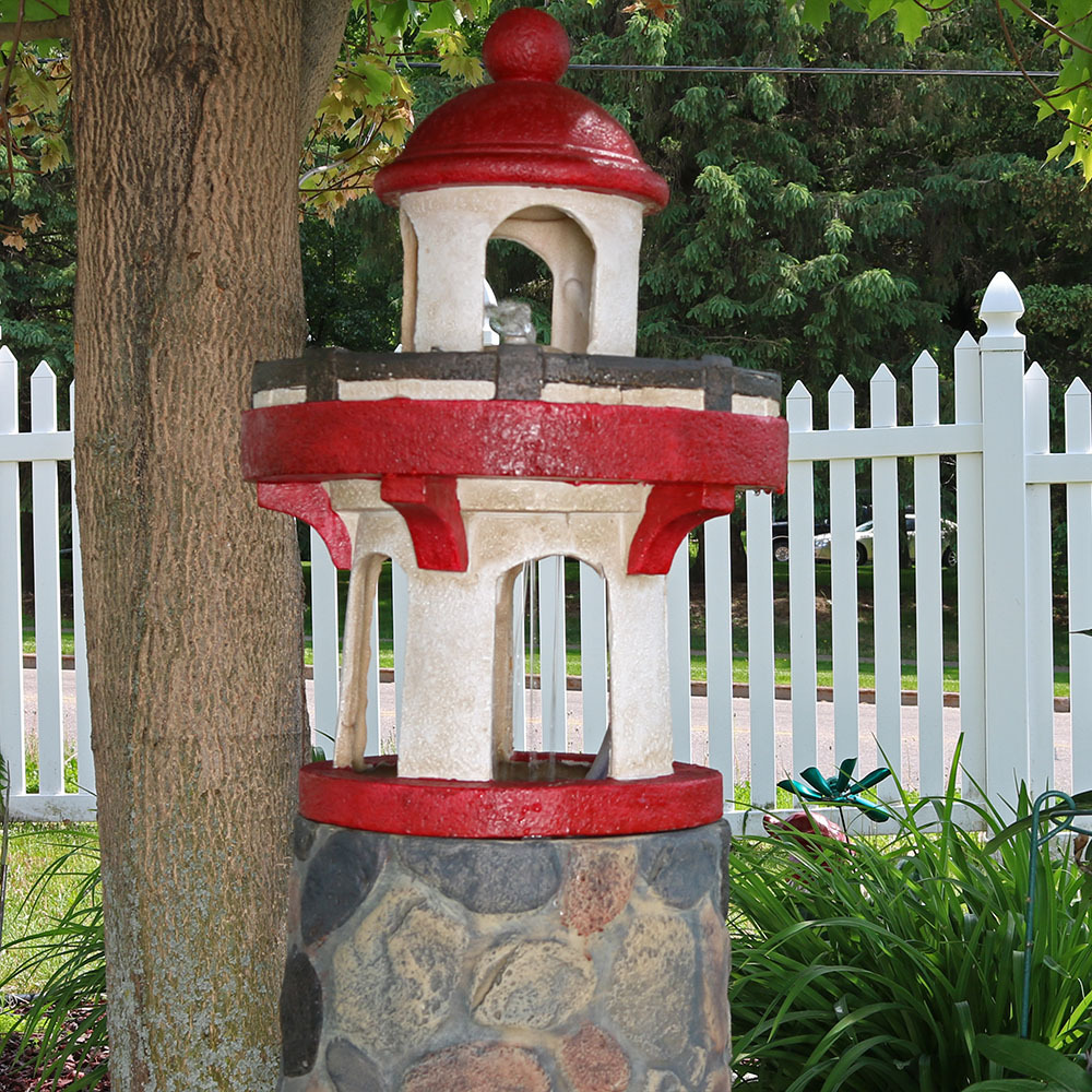 Lighthouse nautical outdoor water fountain w led light for Patio and outdoor decor