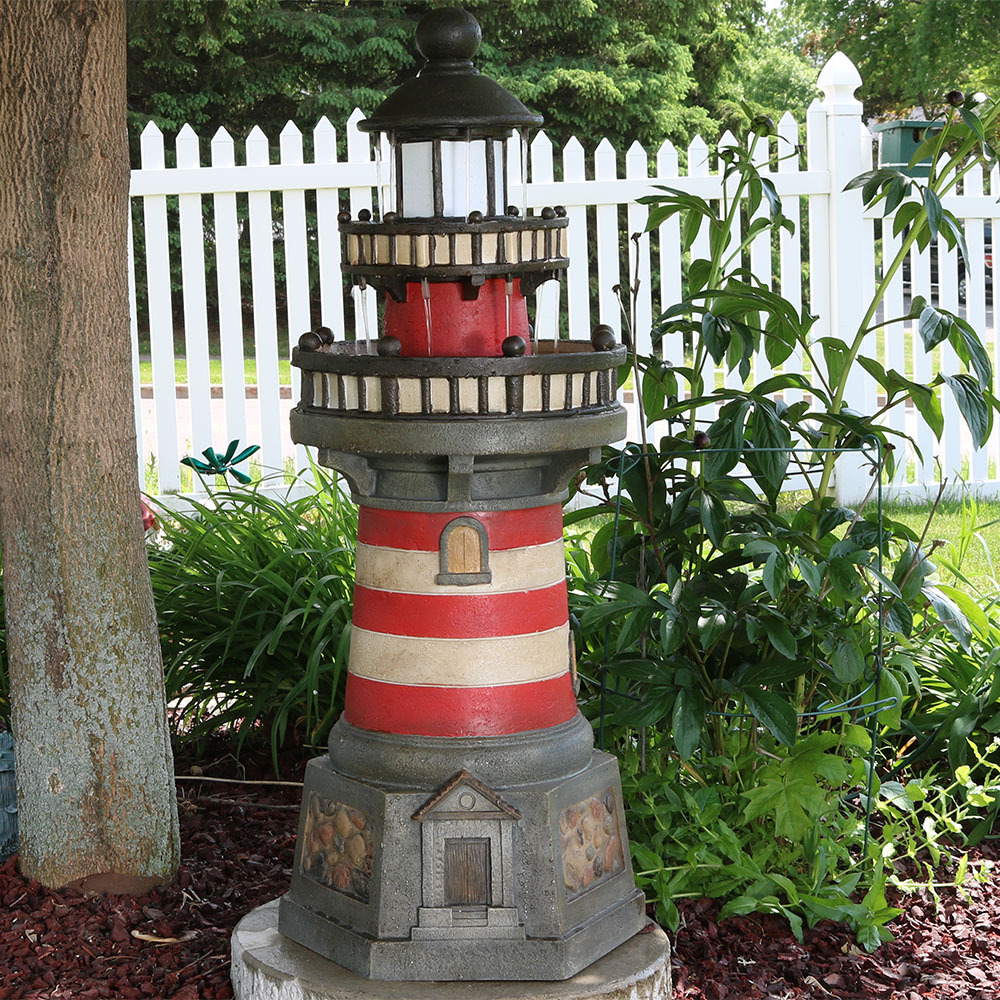 Sunnydaze Traditional Lighthouse Outdoor Water Fountain Picture 328