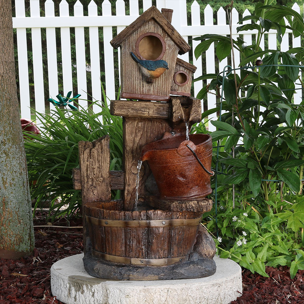 Sunnydaze Bluebird House Buckets Outdoor Garden Water Fountain Image 914