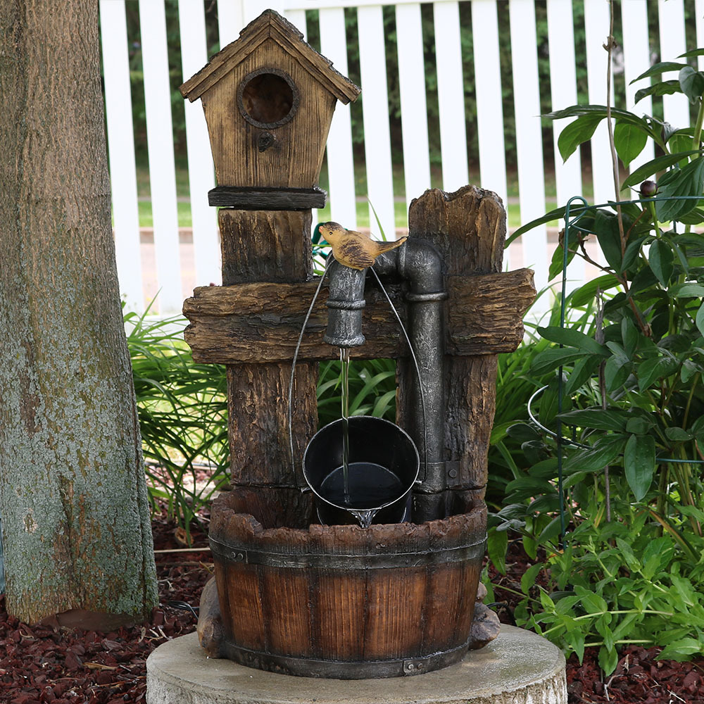 Sunnydaze Bird House Leaking Pipe Outdoor Water Fountain Image 972