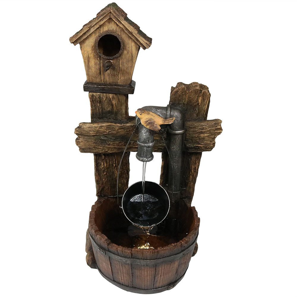 Bird House Leaking Pipe Water Fountain Led Light Garden Patio Tall Photo