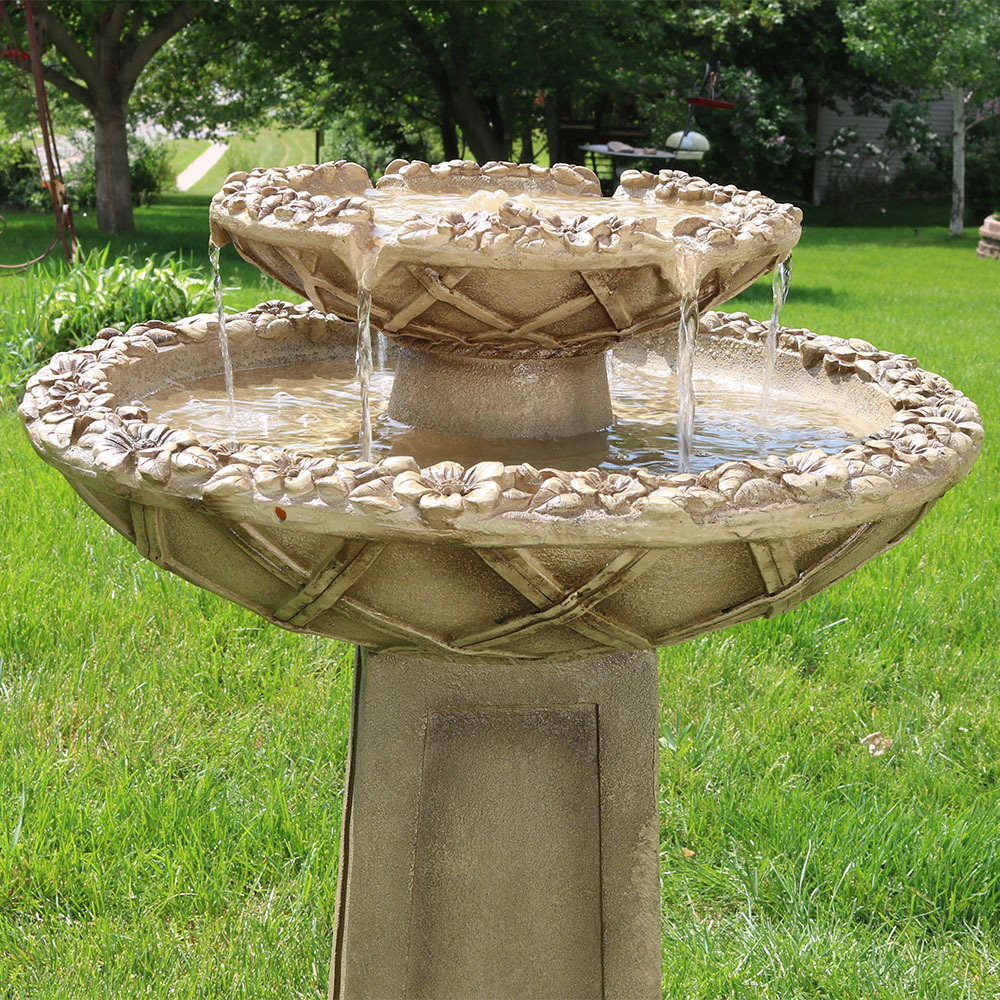 Sunnydaze Beveled Flower 2 Tier Birdbath Water Fountain 28