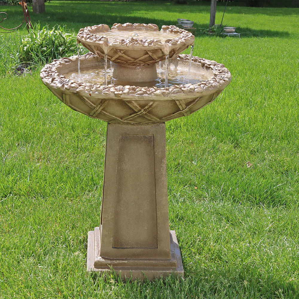 Sunnydaze Beveled Flower Tier Birdbath Water Fountain Picture 264