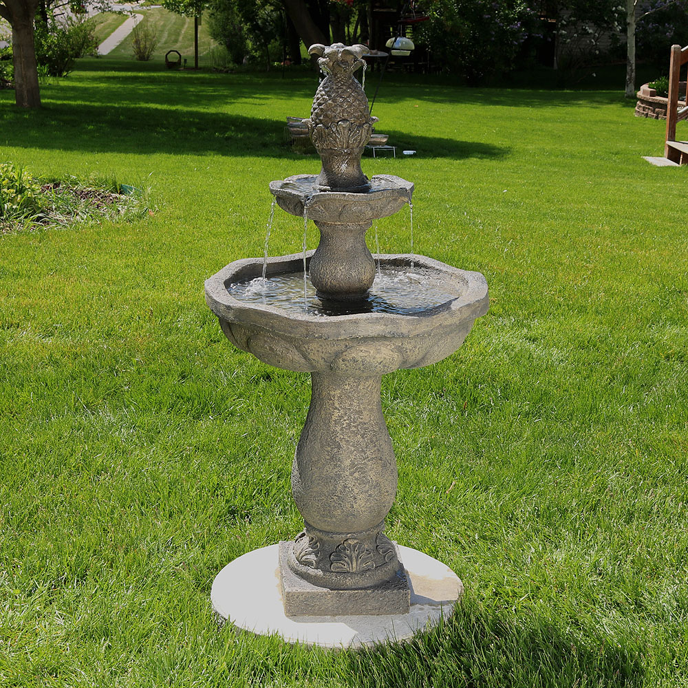 Sunnydaze Button Shell Pineapple Tier Outdoor Water Fountain Picture 364