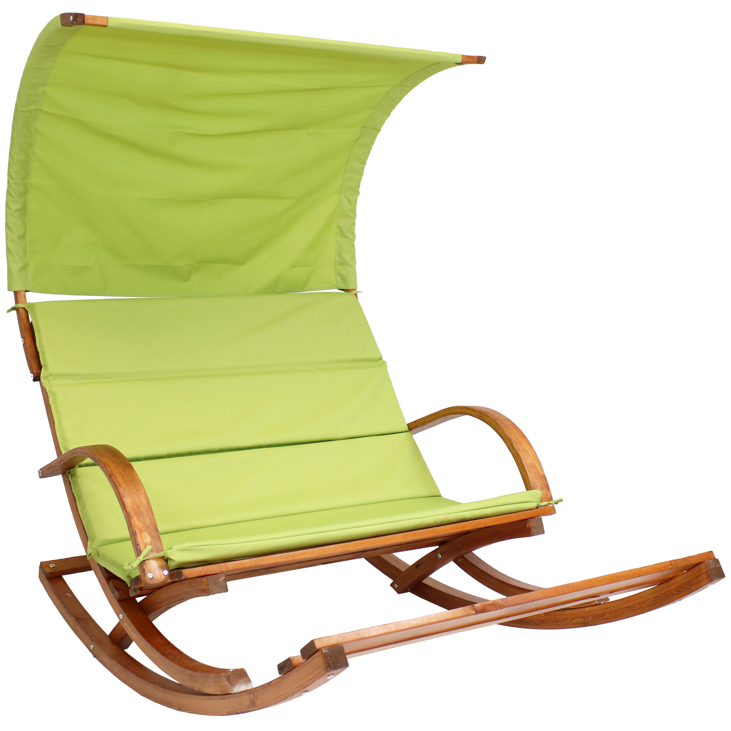 Wooden Rocking Cushioned Loveseat Rest Canopy Lime Green Photo