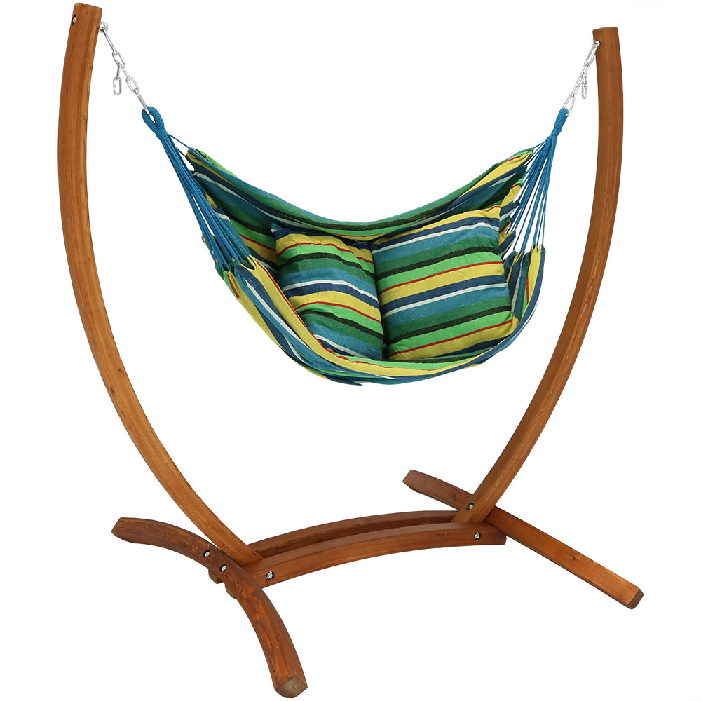 Sunnydaze Hanging Hammock Chair Swing with Sturdy Space-Saving Wooden Stand for Outdoor Use, Ocean Breeze