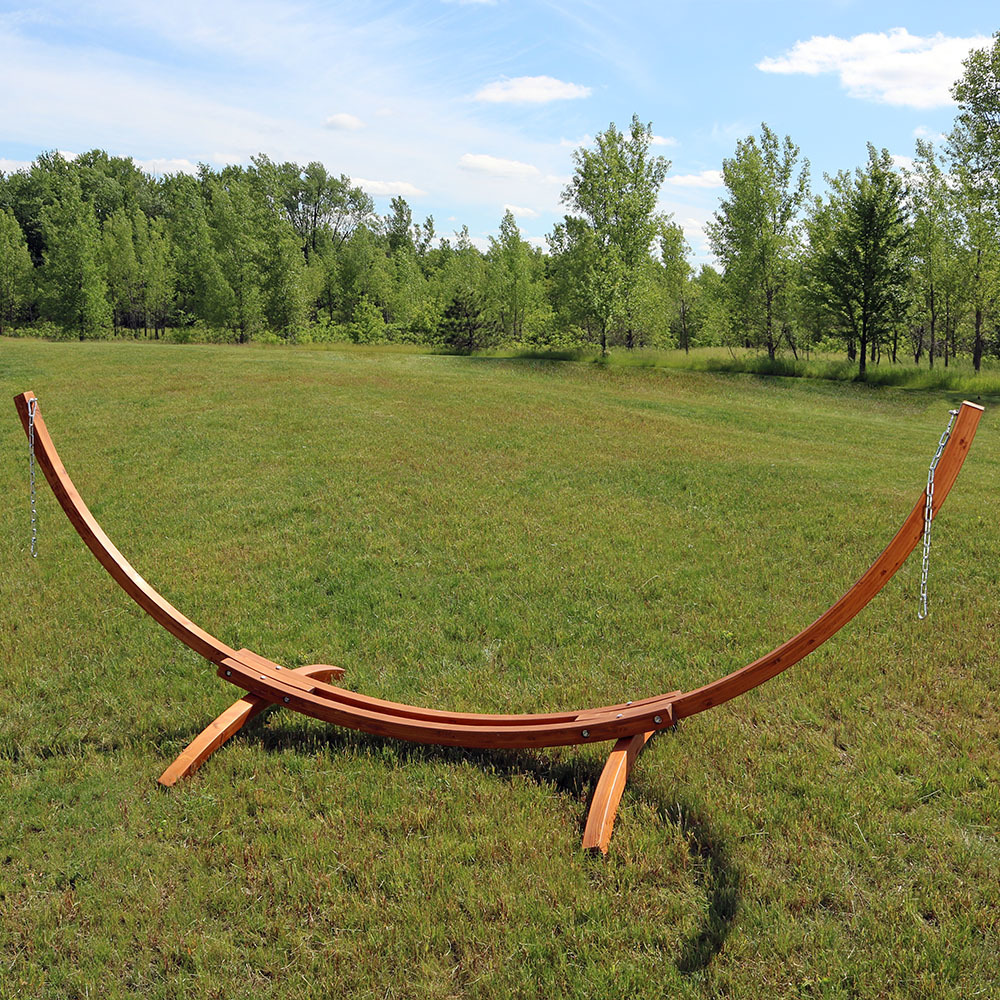 Wood Curved Arc Hammock Stand Only Long Pound Photo