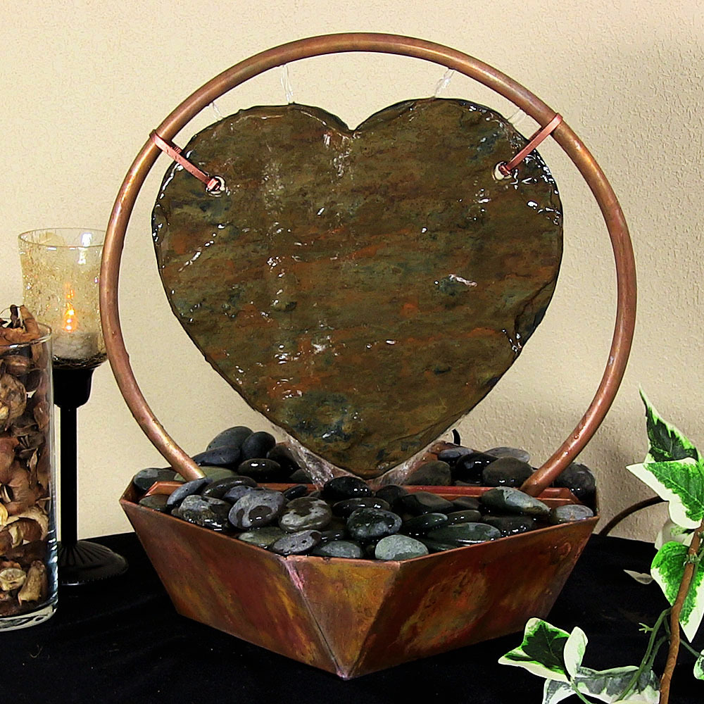 Sunnydaze Heart Tabletop Fountain Copper Tall Picture 331