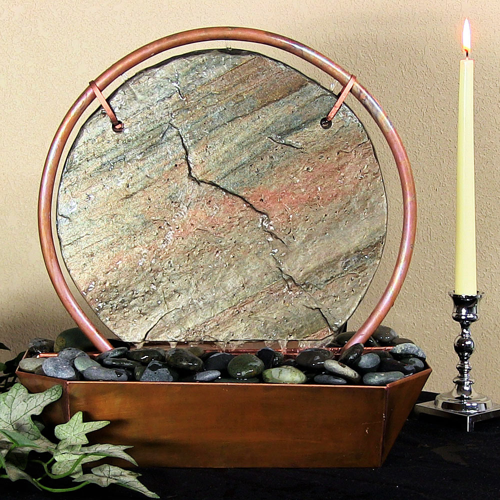 Sunnydaze Moonrise Copper Slate Tabletop Fountain Tall Image 952