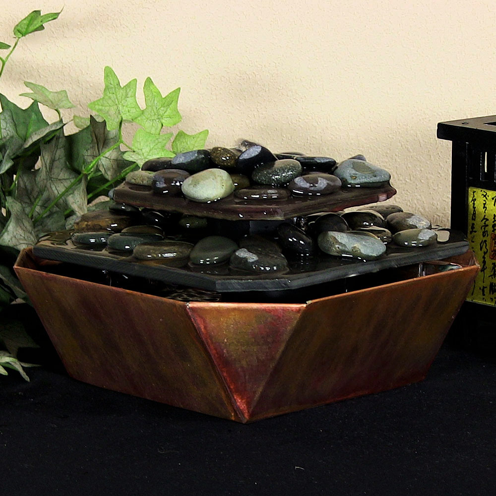 Sunnydaze Copper Slate Rock Tiered Tabletop Fountain Picture 390