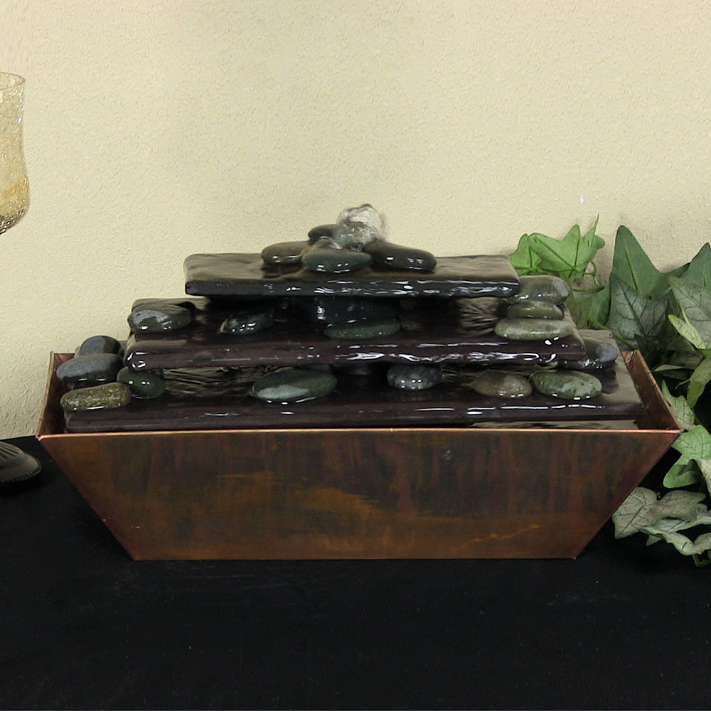 Sunnydaze Tapering Stream Copper Slate Tabletop Water Fountain Image 966
