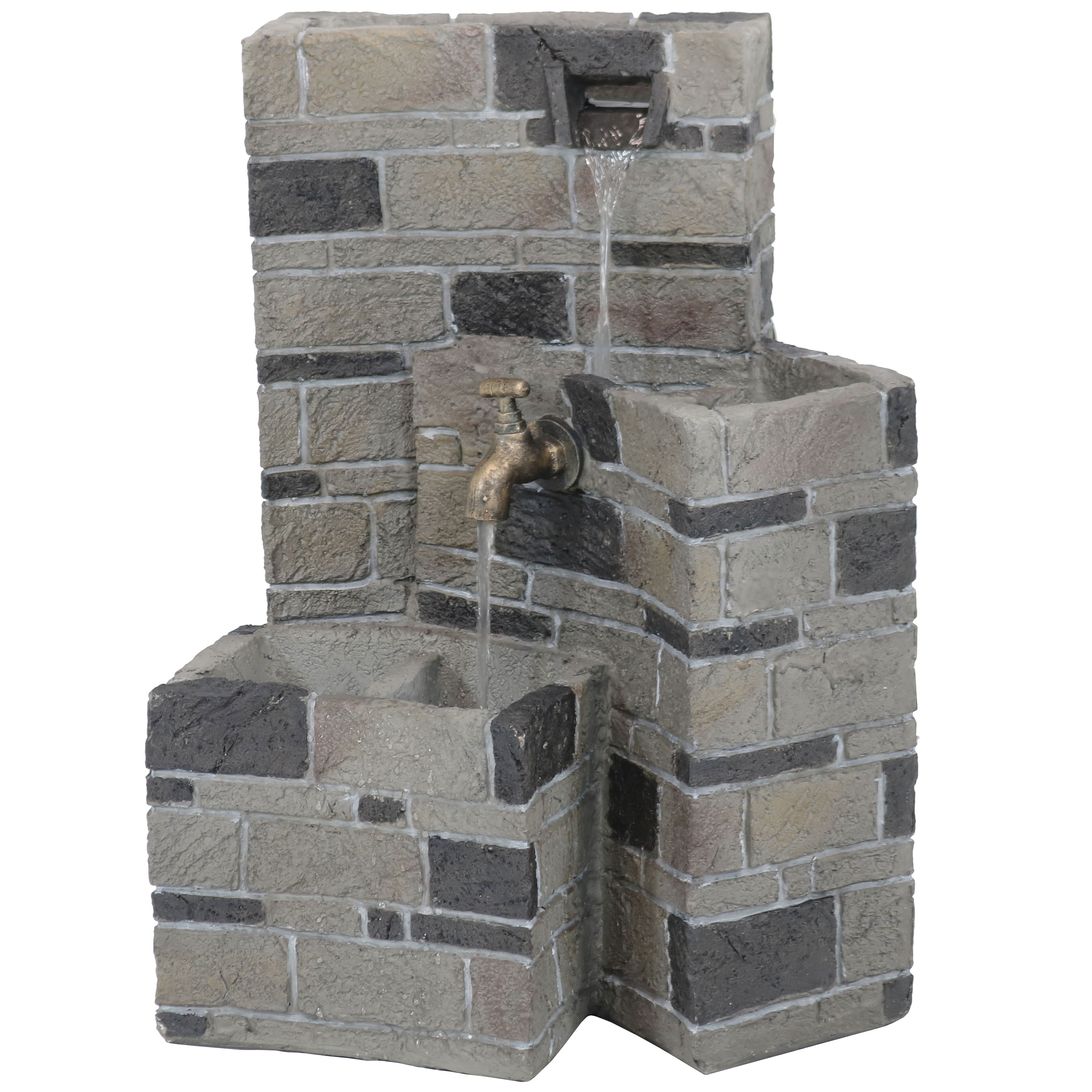 Sunnydaze 3-Tier Brickwork Outdoor Waterfall Fountain with Spigot, Cascading Garden and Patio Water Feature, 23 Inch Tall