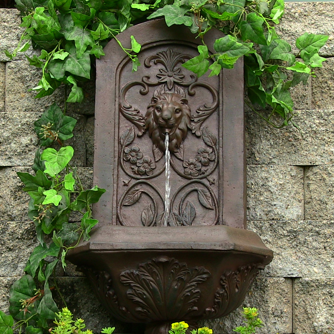 Ative Lion Solar Wall Fountain Iron  Image 709