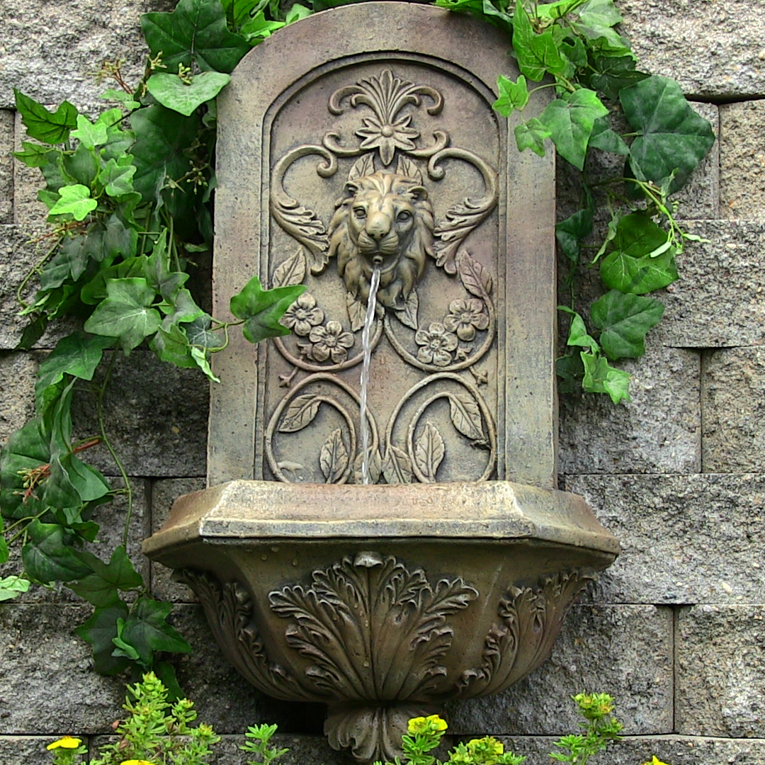 Ative Lion Outdoor Wall Fountain Florentine Stone  Image 210