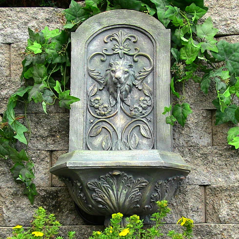 Ative Lion Solar On Demand Wall Fountain French Limestone  Picture 330