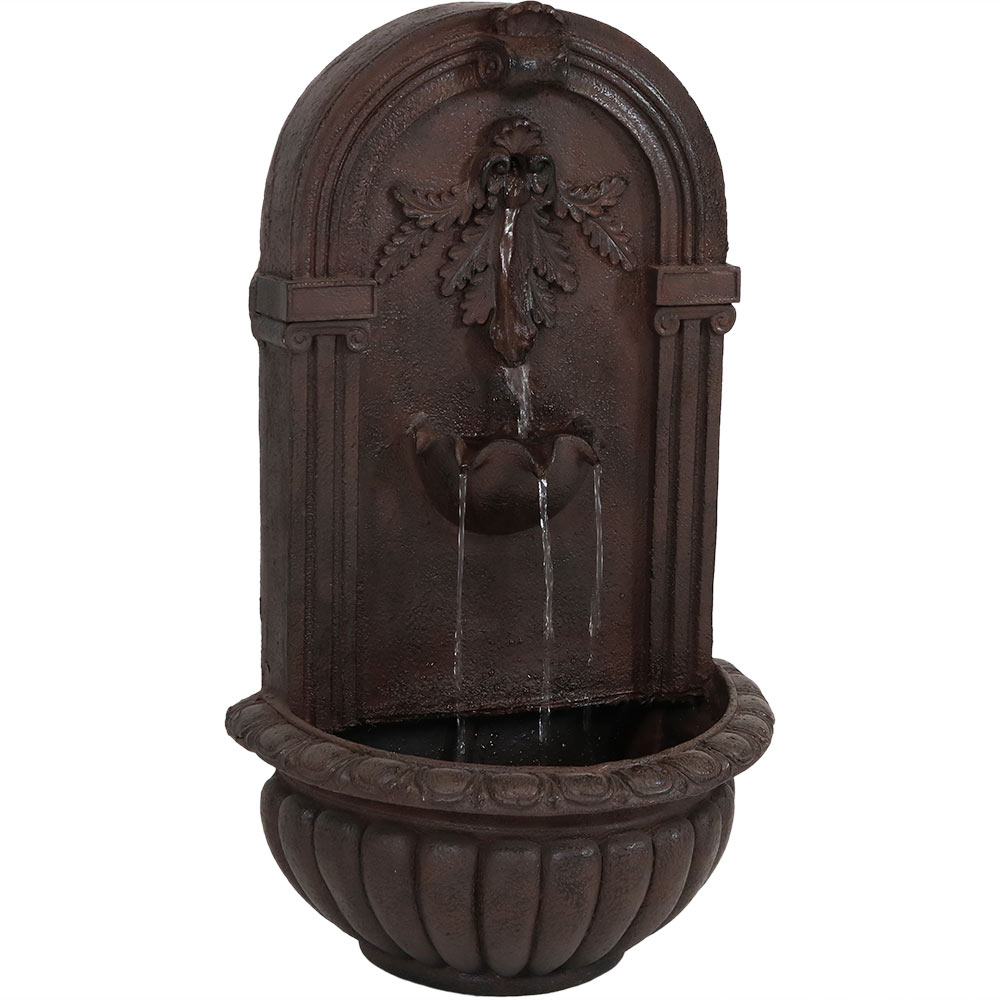 Sunnydaze Florence Wall-Mounted Water Fountain, Outdoor Garden Waterfall Feature, Iron Finish, 27 Inch