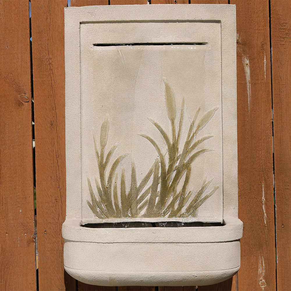 Sunnydaze Modern Cattail Solar Wall Fountain Photo