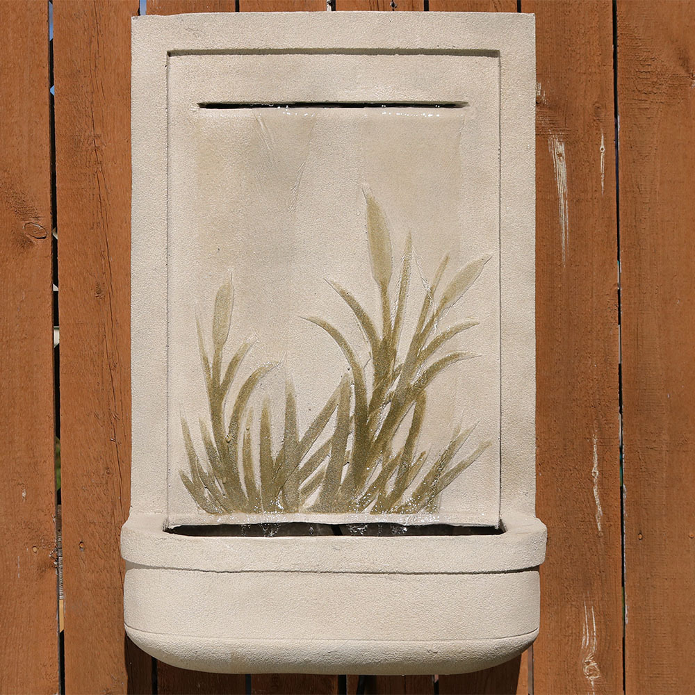 Sunnydaze Modern Cattail Outdoor Wall Water Fountain Includes Electric Submersible Pump Picture 586
