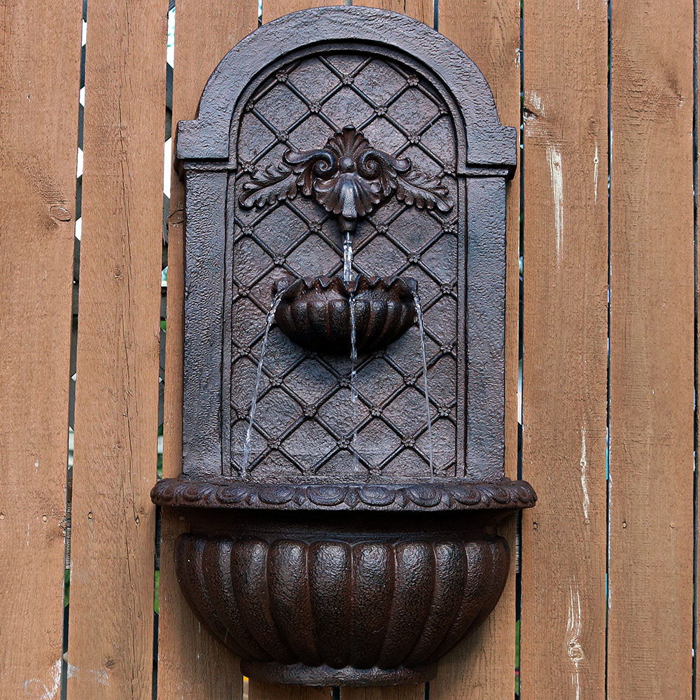Sunnydaze Venetian Solar Outdoor Wall Fountain Weathered Iron Solar Only Feature Picture 358