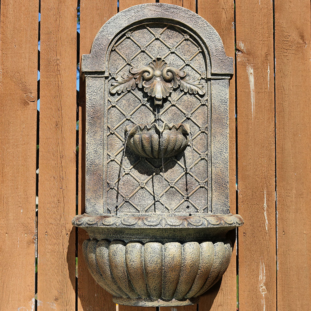 Sunnydaze Venetian Solar Outdoor Wall Fountain Florentine Stone Solar Only Feature Picture 358