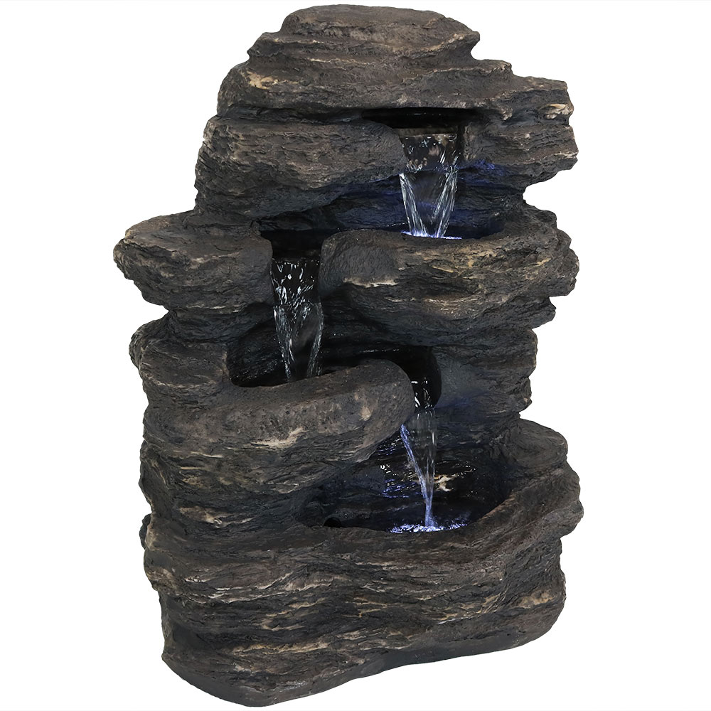 Sunnydaze Rock Falls Outdoor Waterfall Fountain with LED Lights, 24 Inch