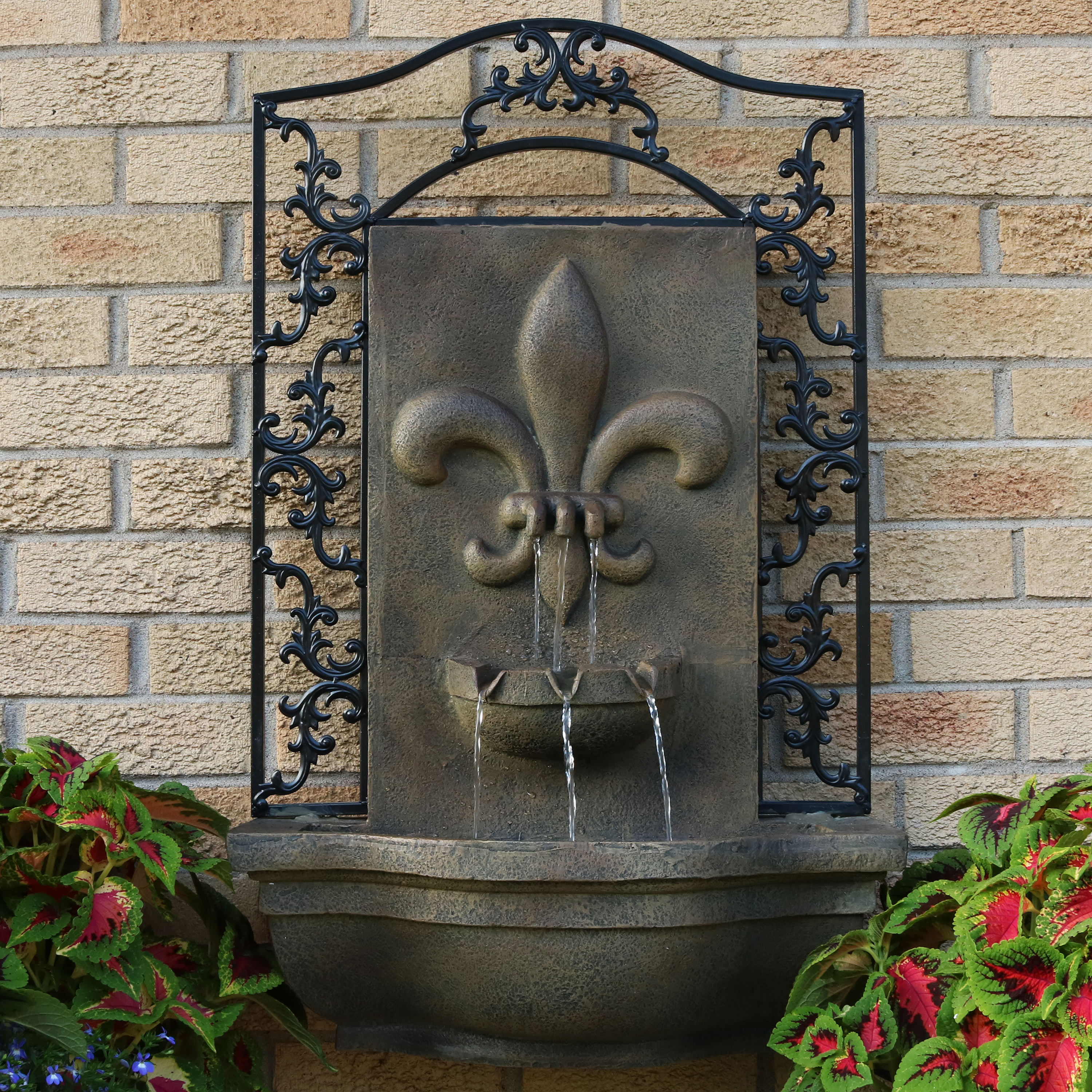 Sunnydaze French Lily Outdoor Wall Water Fountain Florentine Stone