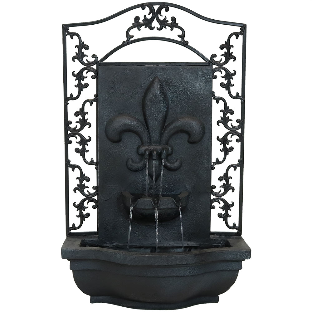 Sunnydaze French Lily Outdoor Wall Fountain, Lead Finish, 33 Inch