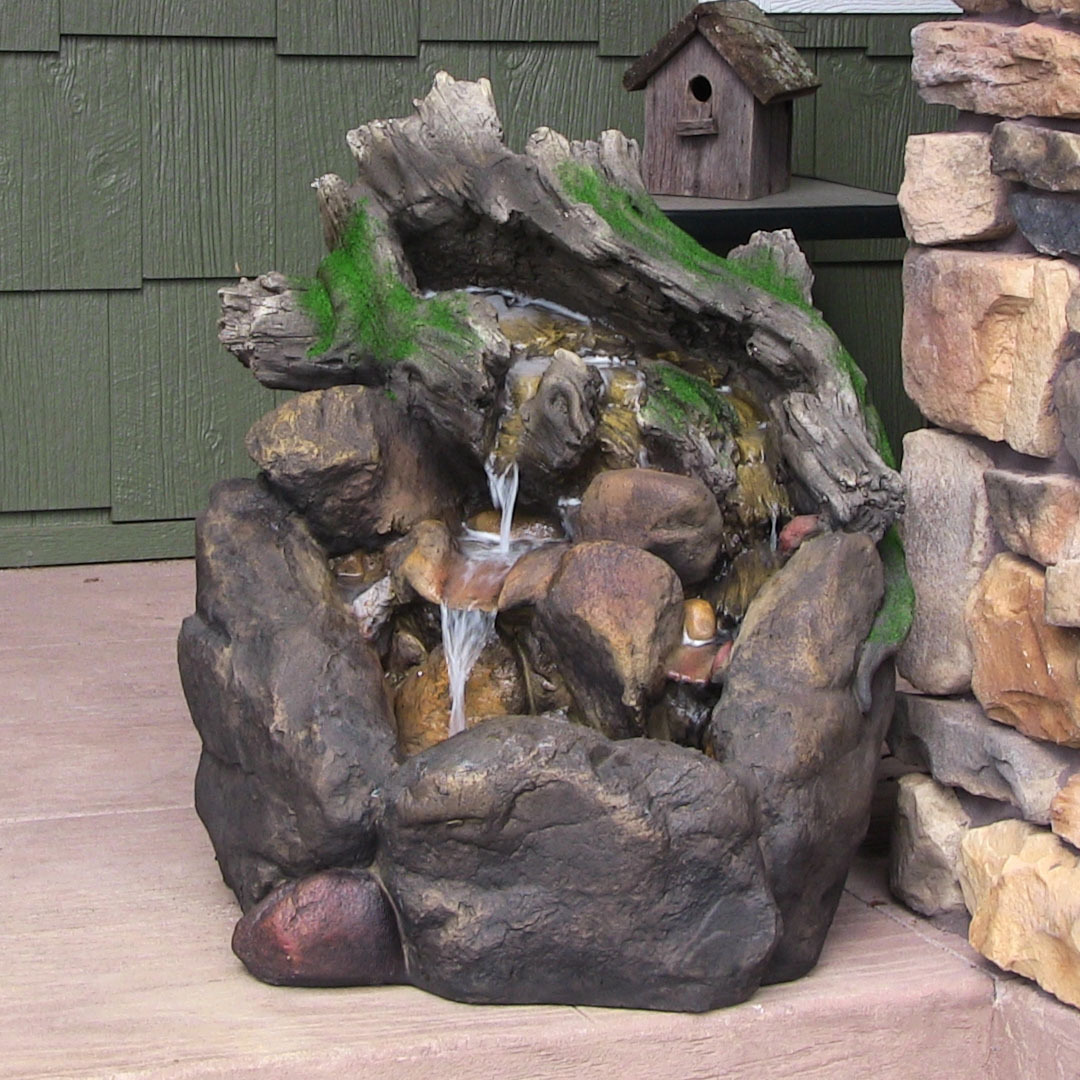 Sunnydaze Tree Trunk On Rocks Outdoor Water Fountain Picture 209