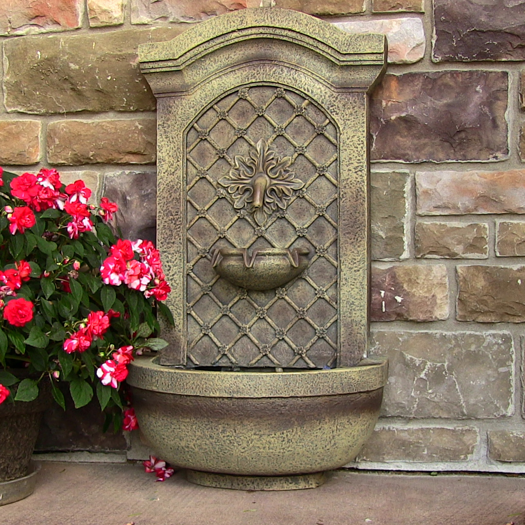 Sunnydaze Rosette Leaf Outdoor Wall Fountain Florentine Stone  Photo