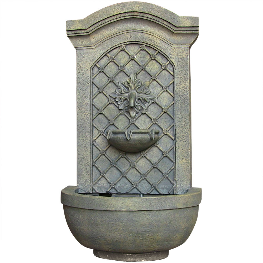 Sunnydaze Rosette Leaf Outdoor Wall Fountain, Limestone Finish, 31 Inch