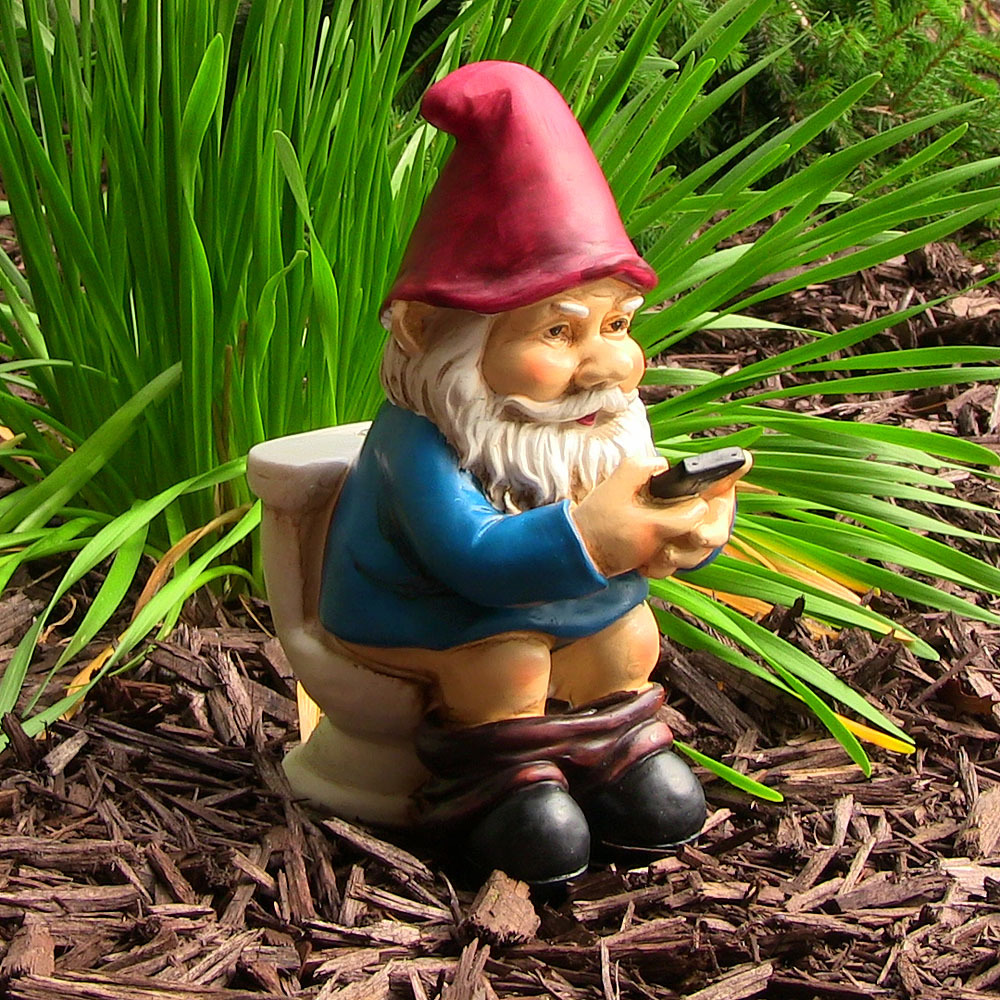 Image of Sunnydaze Cody the Garden Gnome Reading Phone on the Throne, 9.5 Inch Tall